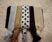 Hair Tie Set, Swiss Dots, Tan, Ivory, Chocolate Brown, Powder Blue, and Powder Blue with Chocolate Swiss Dots,  Set of 5