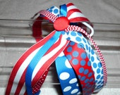 4th of July Ponytail Streamers,  Red, White, and Blue, Polka Dots, Squigglies, and Stripes