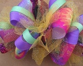 Rainbow Tie Dye Large Funky Loopy Bow, Handsewn, With Glitter Tulle, Glitter Korkers, and Glitter Mutli Colored Ribbon