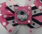 Sweet Kitty Stacked Bow CUSTOM- with Huge Custom Handmade Polymer Clay Center with Rhinestones, MTMG, M2MG