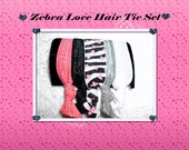 Zebra Love Tie Set, Zebra Print with Hearts, Pink, White, Black, and Silver,  Set of 5