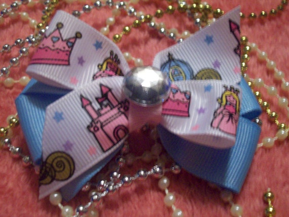 Magical Princess, Stacked Bow - Pink and Light Blue, with Huge Rhinestone Center