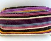 Multi coloured stripped coin purse key ring  // strippy