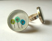Round adjustable watercolour ring -  turquoise  daffodils