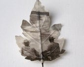 Fabric leaf brooch printed with vintage photograph The Goldcoast