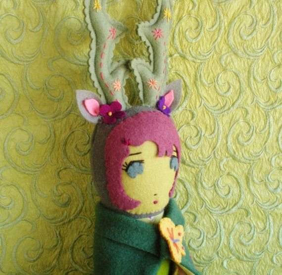 Felt Antler Forest Doll