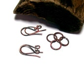 Firescale Copper Ear Wires Set - Jump Rings - Hand Forged Earring Findings