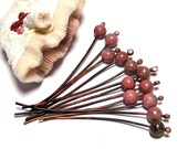 Head Pins with Pink Unakite beads - Jewelry Making Artisan Findings - Fired Copper