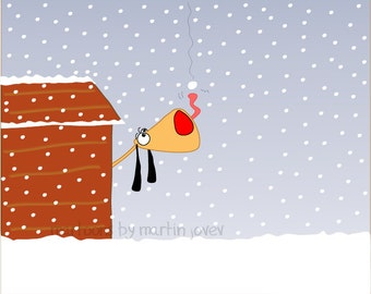 Cute Orange Dog in dog house playing with snowflakes
