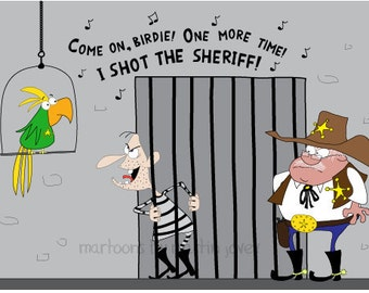 Wild West Bandit in jail Sings Marley Reggae Song I Shot The Sheriff print mug options