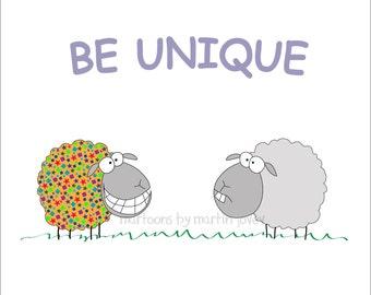 2017 Resolution Funny Sheep on Print, Mug or Shirt with Inspirational Message