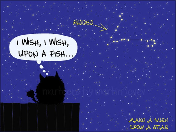 Cat Sitting On the Fence Makes A Wish Upon Star Pisces Zodiac Sign print mug options