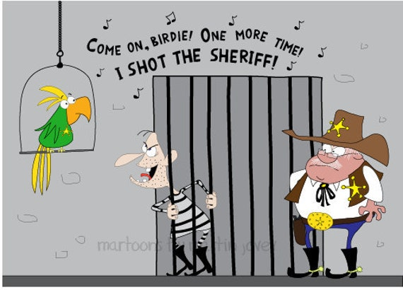 Wild West Bandit in jail Sings Marley Reggae Song I Shot The Sheriff print mug options