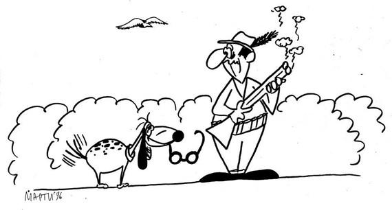 Hunter and Dog with Glasses Joke Mug or Print for Hunter