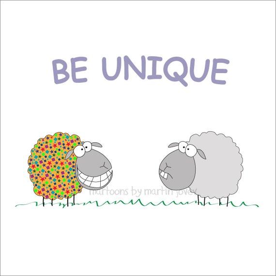 Two Funny Sheep on Print, Mug or Shirt with Inspirational Message