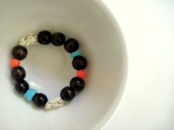 Wood and Stone Bracelet, Dark Brown
