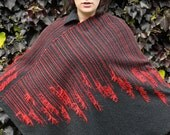Handwoven Poncho in Graphite Grey with Red Accents
