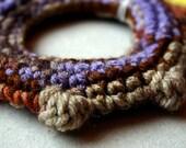 Crochet Bangle - purple brown oatmeal bobbles