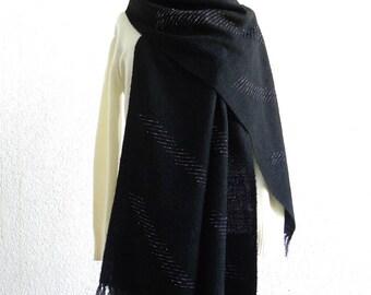 Handwoven Chenille Stole - black OOAK