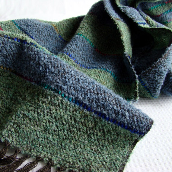 Handwoven Green / Blue Mens Scarf for the Autumn - Forest