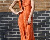 Vintage 90s Peach Festival Dress