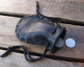 Soul of the Sea- Black Mini Deerskin Leather Pouch Coin/Medicine/Jewelry