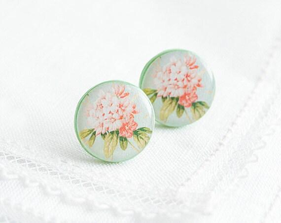 Pink flower stud earrings, mint post earrings, large stud earrings