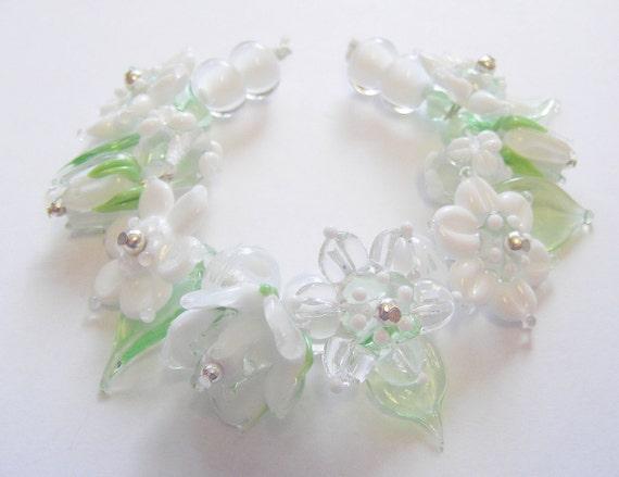 Handmade Lampwork Flower Beads/Leaves - White
