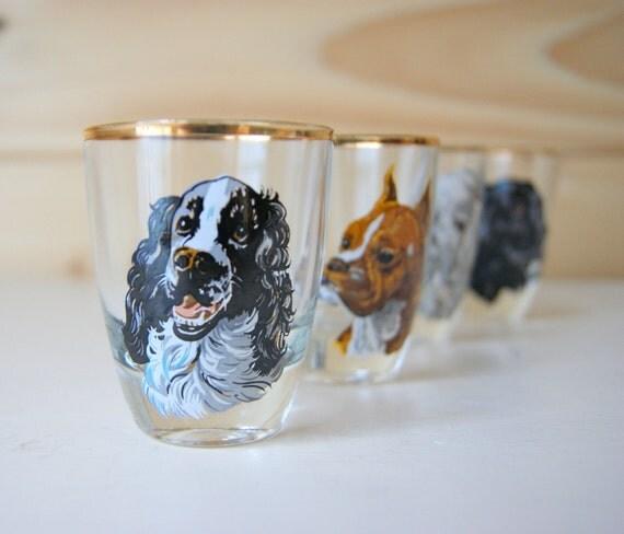 Dog whisky shot glasses gold rimmed