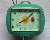 RESERVED for teetoo--Vintage tiny clock with ladybug second timer