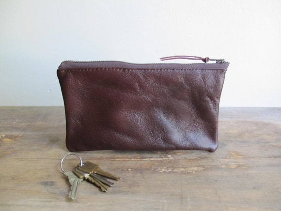 Zippered Leather Pouch / Clutch