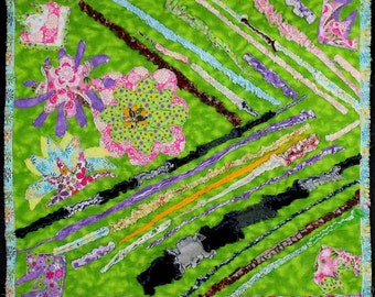 "Abstract  Art  Quilt ""Flowers and Colors"""