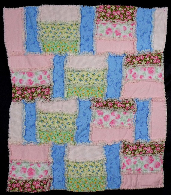 rag quilt shabby chic style pink and blue floral