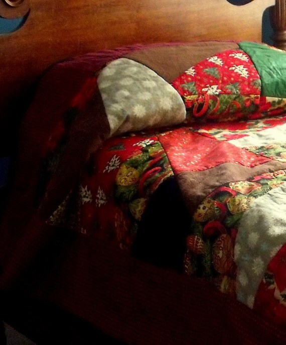 holiday crazy rag quilt , urban country, reversible, extra long twin