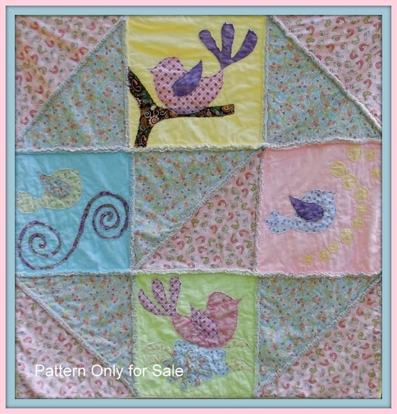 Baby Girl Quilt Pattern, fast and fun quilt as you go Baby Bird Pattern