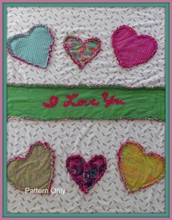 """Sweet Quilt Pattern  """"I Love You"""""""