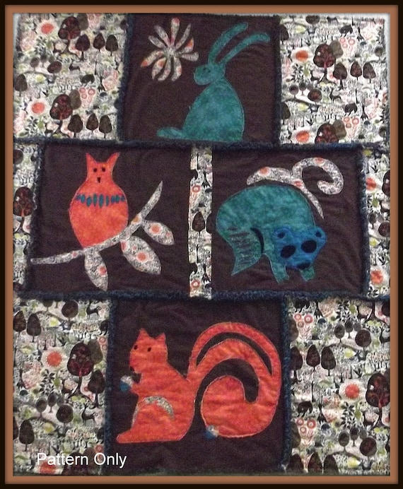 """Woodland Forest Animal Quilt Pattern """"Owl"""", """"Rabbit"""", """"Squirrel"""" and """"Raccoon"""""""
