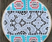 SALE . . . NATIVE LACE 2, painting on vintage lace table runner