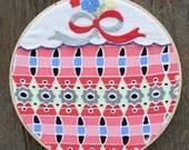 SALE  . . . SWEET PETUNIA,painting on vintage textiles