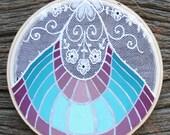 SALE-Ice Cream Social, Original painting on vintage lace textile