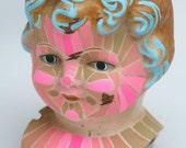 DOLL HEAD THREE acrylic gouache on antique doll head