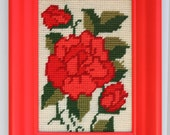 ROSE, vintage needlepoint framed with red neon, fluorescent painted frame