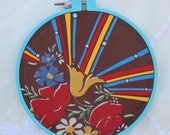 SALE-Super Groovy Floral, Altered Vintage Textile Art, Acrylic Gouache Painting