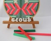SALE-Brave Little Scout, painting on vintage textile with applique, chevron, military, girl scout