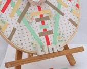SALE-Linear Awakening, altered vintage textiles, original acrylic gouache painting