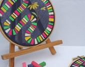 SALE-Dancing Susan Pair, altered vintage embroidery, original acrylic gouache painting on vintage textile
