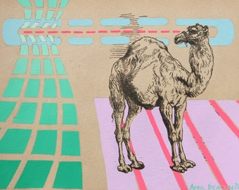 CAMEL'S GAZE gouache on vintage print