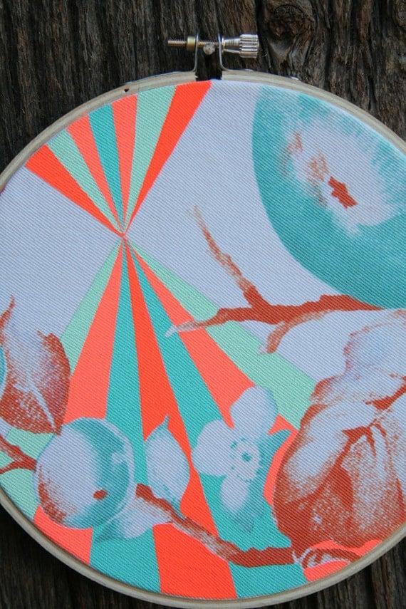 SUPER FRUIT, painting on vintage table runner