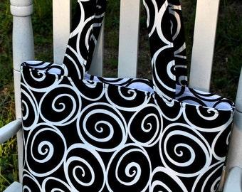 Black and White Swirls Tote