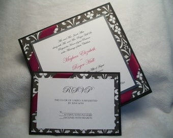 Black and White Damask 4 layer Wedding Invitation with Satin Ribbon